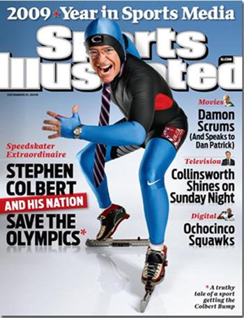 Stephen Colbert가 스케이팅 유니폼을 입고 찍은 스포츠 전문잡지 Sports Illustrated 표지