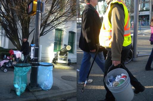 쓰레기를 주우러 다니는 환경미화원(좌), 기둥마다 배치된 비닐 쓰레기통(우)