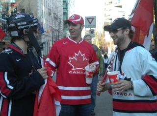 캐나다 하키 선수처럼 차려입은 시민들