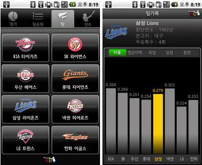 KBO 공식 어플리케이션 팀성적 그래픽 화면