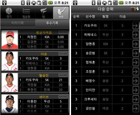 KBO 공식 어플리케이션 선수들의 정보와 개인순위화면