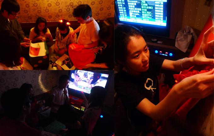 식스센스마스터팀의 노래방에서의 이벤트 준비 장면