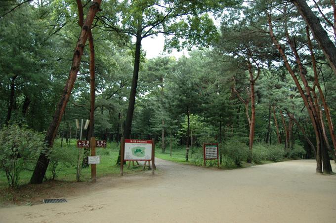 3가지 갈림길이 나옵니다. 좌측이 건릉(정조) 중앙이 산책로 우측이 융릉(장조) 방향입니다.