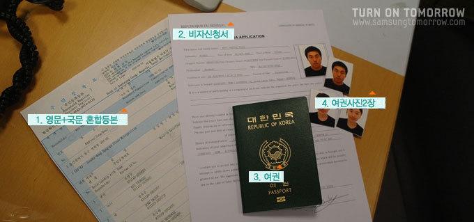 영문+국문 혼합등본, 비자신청서, 여권, 여권사진2장
