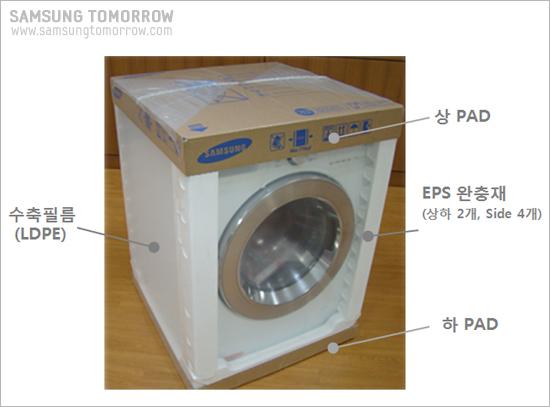 삼성전자 드럼세탁기 수축포장, 수축필름(LDPE), 상PAD, EPS완충재(상하 2개, side 4개), 하PAD