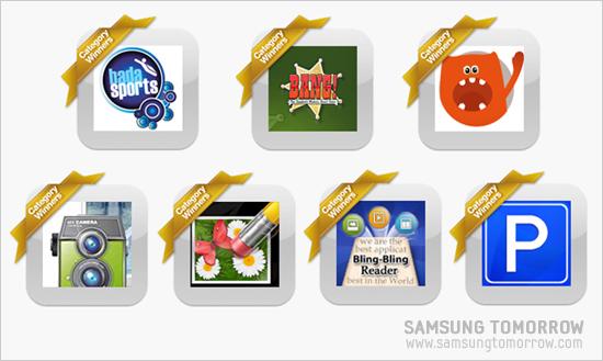 각 카테고리별 1위에 선정된 바다스포츠(badaSports), 두기(Doogies), 뱅(Bang), 워모카메라(WAMO_Camera), 터치리터치(TouchRetouch), 블링블링리더(Bling-Bling Reader), 파킹(Parking)
