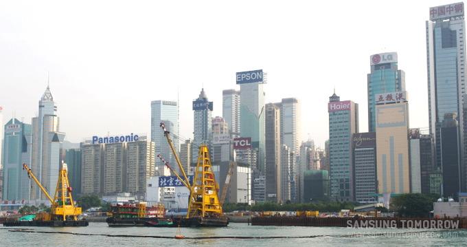 홍콩의 높은 빌딩들