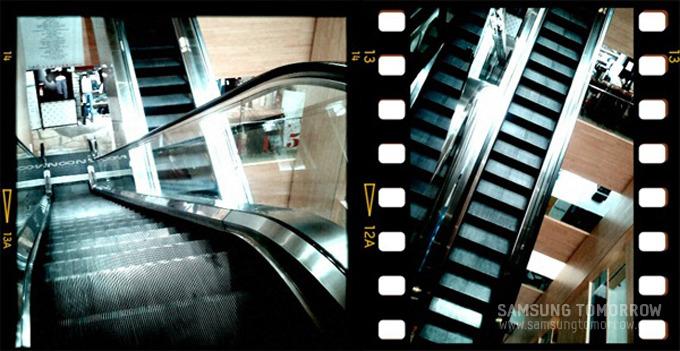 film effect - random 으로 설정하여 찍은 에스컬레이터 사진