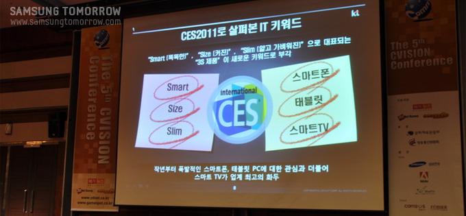 강연을 시작하기에 앞서, 세계 최대 규모의 가전행사인 CES 2011로 본 IT 제품키워드를 정리