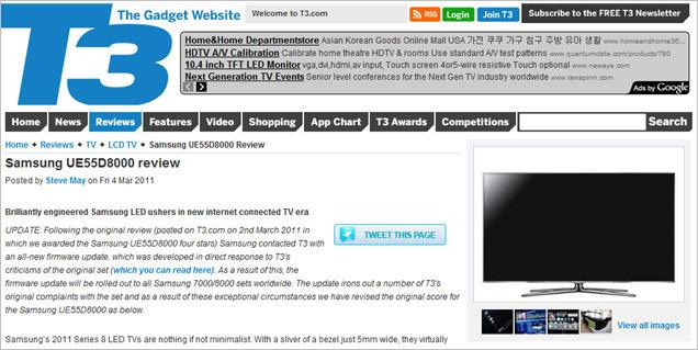 영국의 유명한 전자제품 전문 잡지인 'T3'은 삼성전자의 풀HD 3D 스마트TV 8000 시리즈 기사