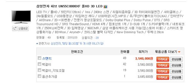 한국 인터넷 쇼핑몰에 등록된 삼성전자 55형 3D TV(55C8000) 가격