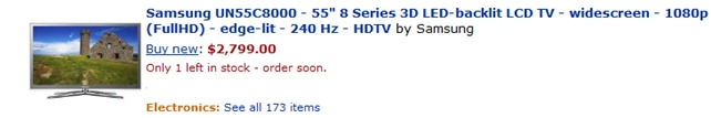 미국 인터넷 쇼핑몰에 등록된 삼성전자 55형 3D TV(55C8000) 가격