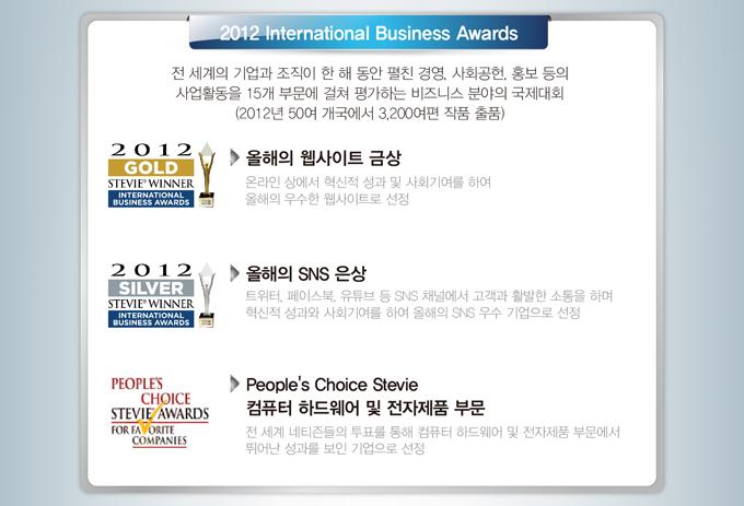 2012 International Business Awards 전 세계의 기업과 조직이 한   해동안 펼친 경영, 사회공헌, 홍보 등의 사업활동을 15개 부문에   걸쳐 평가하는 비즈니스 분야의 국제대회(2012년 50여 개국에서   3,200여편 작품 출품) 올해의 웹사이트 금상 온라인 상에서 혁신적   성과 및 사회기여를 하여 올해의 우수한 웹사이트로 선정. 올해의   SNS 은상 트위터, 페이스북, 유튜브 등 SNS 채널에서 고객과 활발  한 소통을 하며 혁신적 성과와 사회기여를 하여 올해의 SNS 우수   기업으로 선정 People's Choice Stevie 컴퓨터 하드웨어 및 전자제  품 부문 전 세계 네티즌들의 투표를 통해 컴퓨터 하드웨어 및 전자  제품 부문에서 뛰어난 성과를 보인 기업으로 선정.