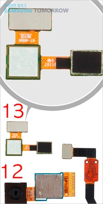 12. 800만 화소 카메라 후면칩, 13. 근접센서 전면 카메라 모듈