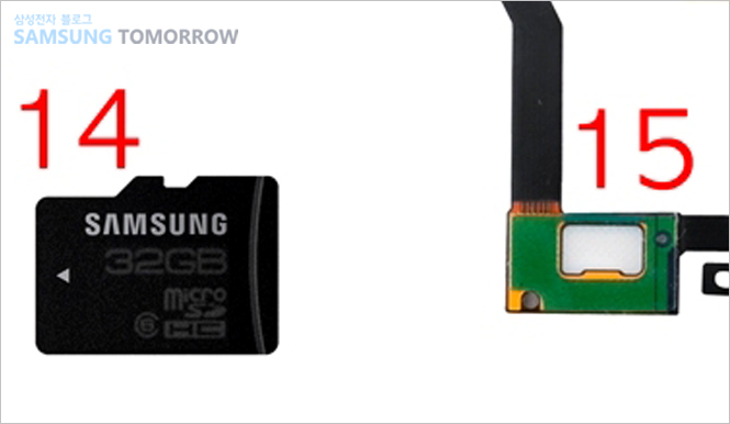 14. 외장메모리(MicroSD) 카드,15. 홈키