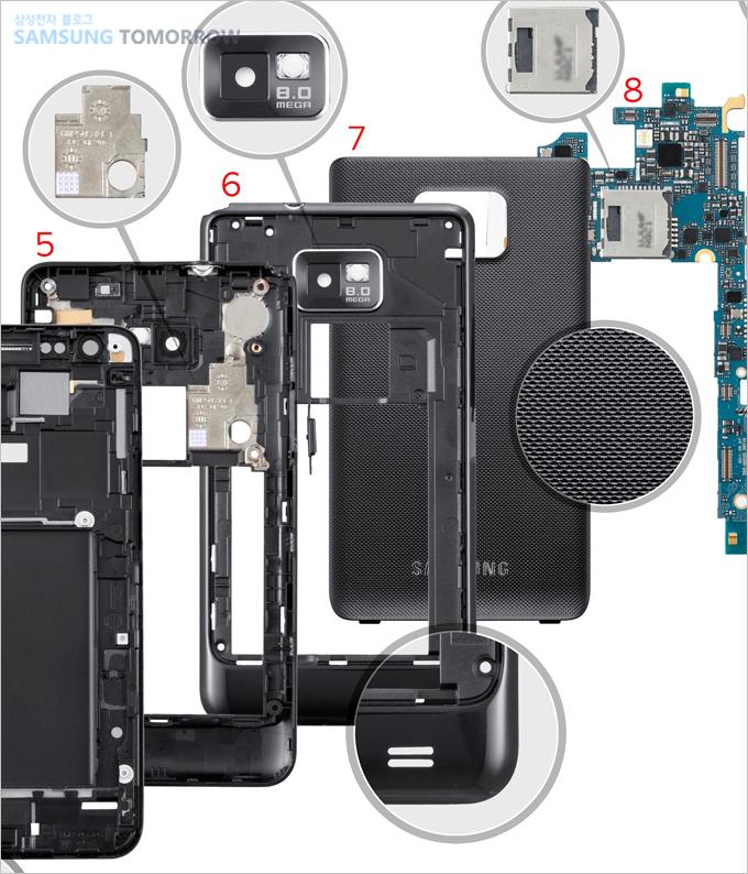5. 리어셀 (앞면), 6. 리어셀 (뒷면), 7. 배터리 커버, 8. SIM / 마이크로 SD