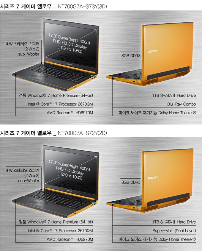 시리즈 7 게이머 옐로우_NT700G7A-S73Y(3D) 17.3