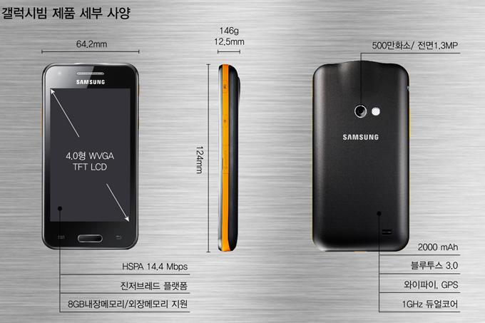갤럭시빔 제품 사양 4.0형 WVGA TFT LCD, HSPA 14.4 Mbps 진저브래드 플랫폼 8GB내장메모리/외장메모리 지원, 500만화소/전면1.3MP 2000mAh 블루투스 3.0 와이파이, GPS 1GHz 듀얼코어
