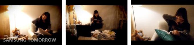 의자에 앉아 책을 읽는 여자
