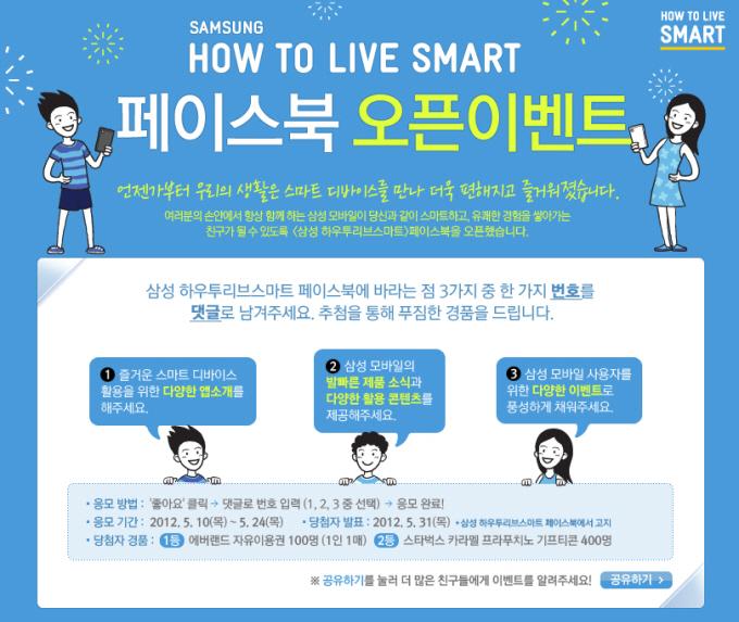 Samsung How To LIve Smart 페이스북 오픈 이벤트 언젠가부터 우리의 생활은 스마트 디바이스를 만나 더욱 편해지고 즐거워졌습니다. 여러분의 손안에서 항상 함께하는 삼성 모바일이 당신과 같이 스마트하고, 유쾌한 경험을 쌓아가는 친구가 될 수 있도록 삼성 하우투 리브 스마트 페이스북을 오픈 했습니다. 삼성 하우투리브스마트 페이스북에 바라는 점 3가지 중 한 가지 번호를 댓글로 남겨주세요. 추첨을 통해 푸짐한 경품을 드립니다.
