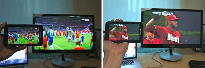 야구와 축구영상을 연결한 모습