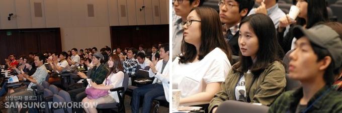 많은 대학생들이 참석하여 경청하고 있다