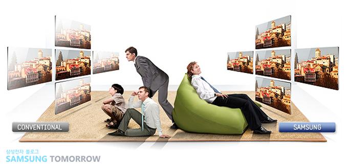PLS패널 적용으로 넓은 시야각을 확보한 삼성 제품 광고 이미지
