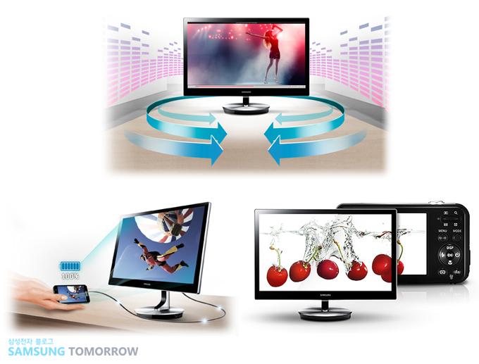 주변 IT기기와 연결성을 향상시킨 모니터 광고 이미지