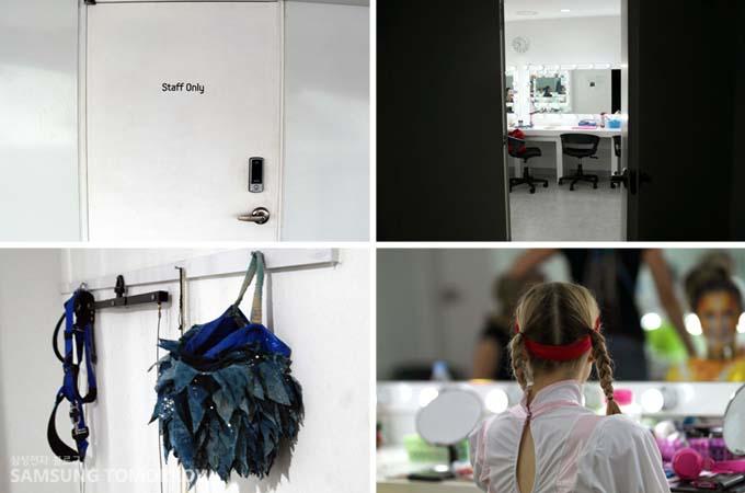 스탭 대기실 입구와 내부, 소녀 연기자의 뒷모습