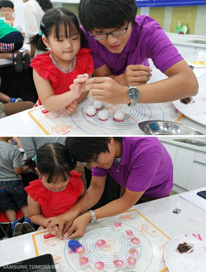 김진환 사원가 아이가 화과자를 만드는 모습