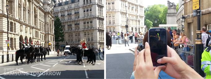 Charing Cross 근처 기마 순찰대와 Galaxy SⅢ로 사진찍기