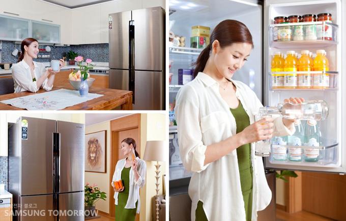 냉장고에 보관된 물을 꺼내 마시는 발레리나 김주원