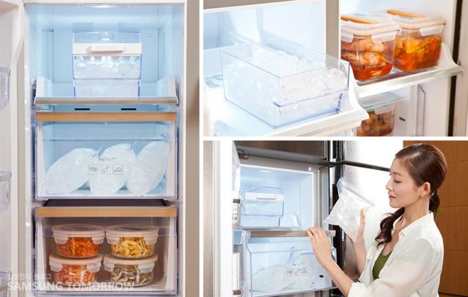 얼음팩이 보관된 냉동실에서 얼음을 꺼내는 발레리나 김주원