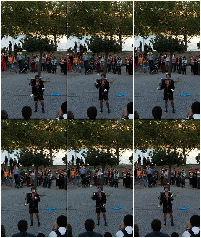 거리에서 공연하는 사람을 찍은 연속사진