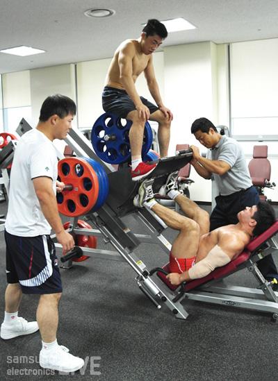 훈련중인 선수들의 모습