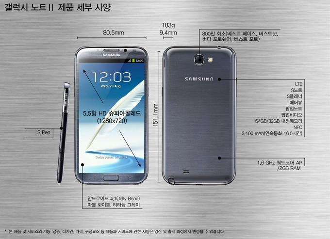 갤럭시노트 Ⅱ 제품 세부 사양, S Pen, 80.5mm, 151.1mm, 9.4mm, 183g, 안드로이드 4.1(Jelly Bean)마블 화이트, 티타늄 그레이, 800만 화소 (베스트 페이스, 버스트 샷, 버디 포토쉐어, 베스트 포토) LTE S노트 S플래너 에어뷰 팝업노트 팝업비디오 64GB/32GB 내장메모리 NFC 3,100mAh(연속통화 16.5시간) 1.6GHz 쿼드코어AP /2GB RAM