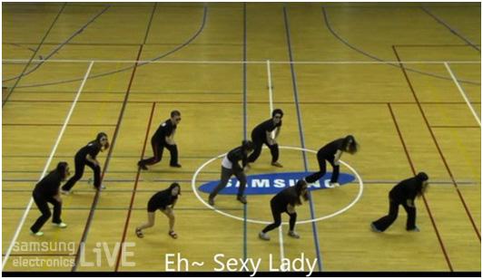 농구장에서 춤추는 삼성임직원들