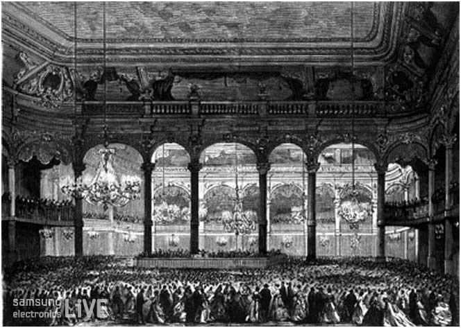 1869년 SalleWagram 무도회장에서 사람들이 폴카와 왈츠를 추는 모습
