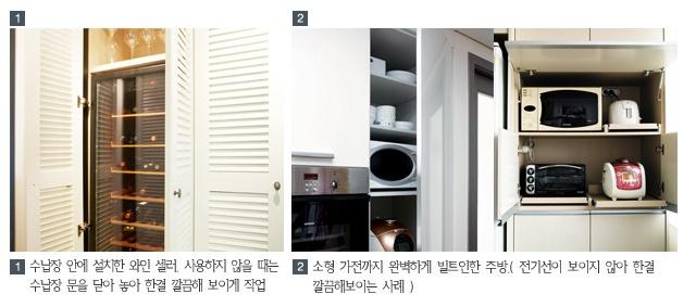 1. 수납장 안에 설치한 와인 셀러, 사용하지 않을 때는 수납장 문을 닫아 놓아 한결 깔끔해 보이게 작업 2. 소형가전까지 완벽하게 빌트인한 주방(전기선이 보이지 않아 한결 깔끔해보이는 사례)