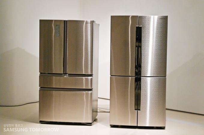 스테인레스 기법으로 탄생한 냉장고의 외관