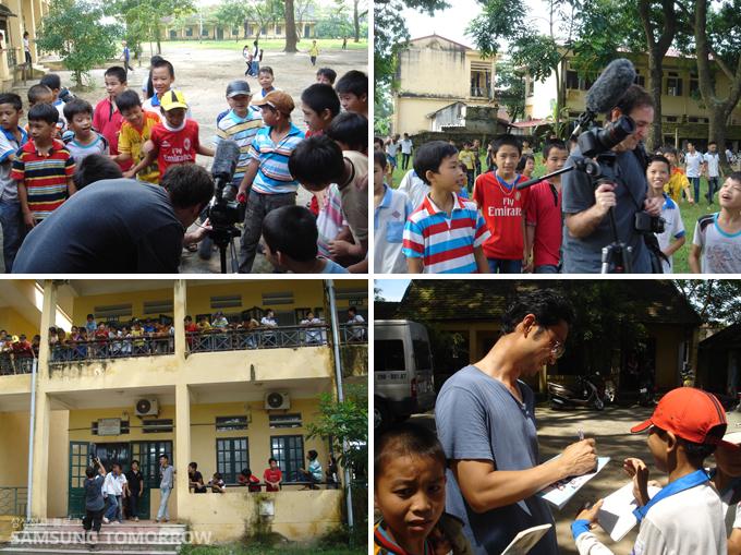포토그래퍼를 보기 위해 모여든 많은 학생들의 모습과 싸인까지 받고 있는 모습