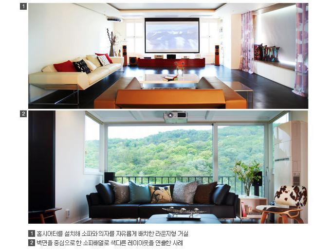 1 홈씨어터를 설치해 소파와 의자를 자유롭게 배치한 라운지형 거실, 2 벽면을 중심으로 한 소파 배열로  색다른 레이아웃을 연출한 사례