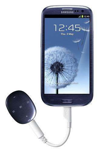 갤럭시S3와 연결한 '삼성 MP3 플레이어 W1' 페블블루 제품이미지