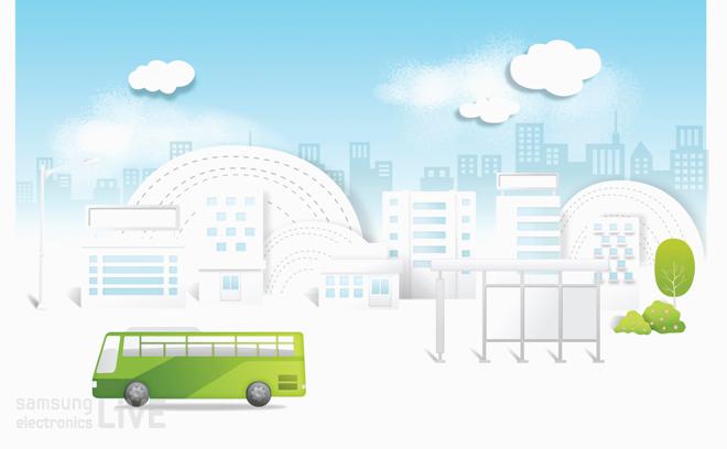 초록색 버스 이미지
