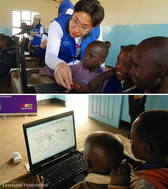 컴퓨터를 가르치고 있는 봉사단의 모습과 그림판으로 그림을 그리는 아이들의 모습