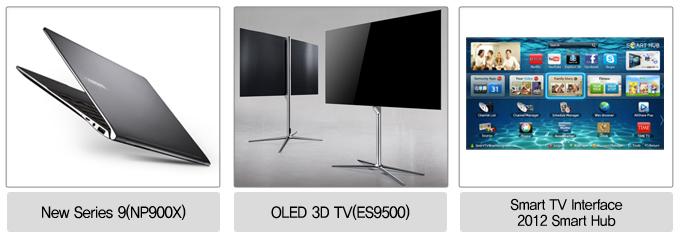 뉴시리즈 9 (NP900X), OLED 3D TV(ES9500), SMART TV INTERFACE 2012 SMART HUB
