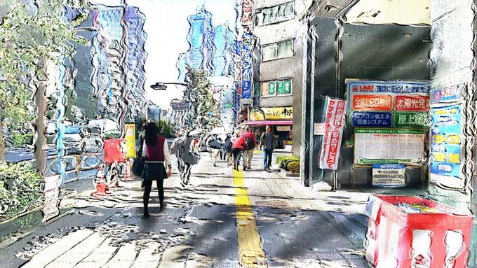 거리를 찍은 사진에 전체적으로 흐물거리는 효과를 준 화면