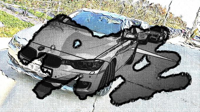 꿈틀거리는 효과와 펨으로 끄적인 효과를 준 자동차사진