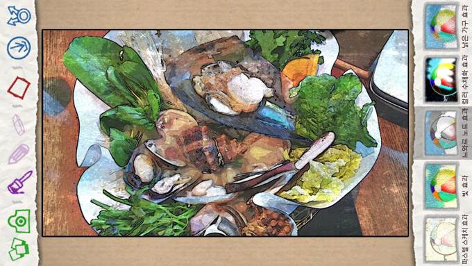 해물요리 사진에 누아르효과를 준 모습