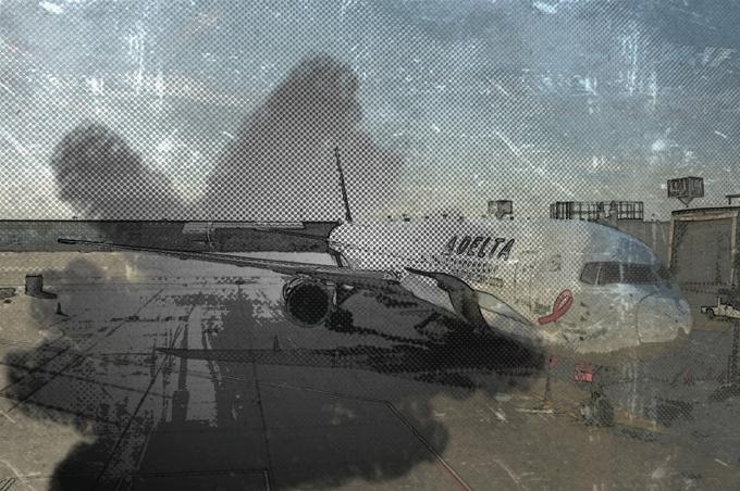 붓을 이용해 비행기사진을 꾸민 모습